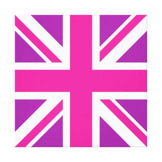 Union Jack Flag Pink, Purple & White Canvas Print