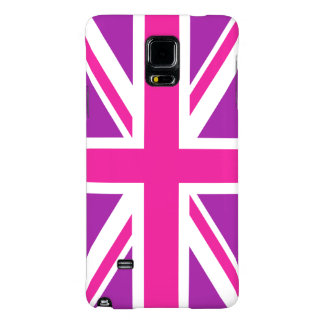 Union Jack Flag Pink, Purple & White Galaxy Note 4 Case