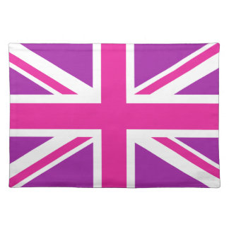 Union Jack Flag Pink, Purple & White Placemat