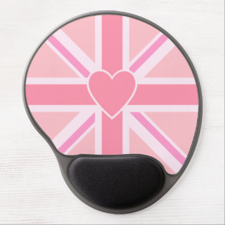 Union Jack/Flag Pinks & Heart Gel Mouse Pad