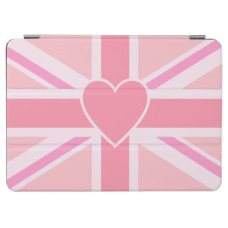 Union Jack/Flag Pinks & Heart (Horizontal) iPad Air Cover