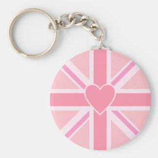 Union Jack/Flag Pinks & Heart Key Ring