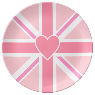 Union Jack/Flag Pinks & Heart Plate