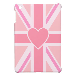 Union Jack/Flag Pinks & Heart (Vertical) Case For The iPad Mini
