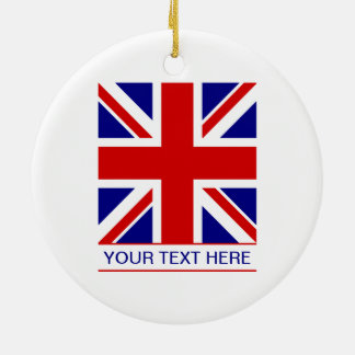 Union Jack Flag Plus Your Text Christmas Ornament