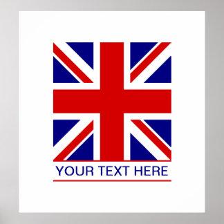 Union Jack Flag Plus Your Text Poster