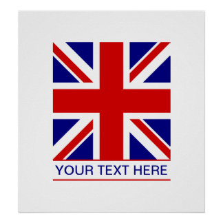 Union Jack Flag Plus Your Text Print