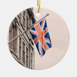 Union Jack Flag Round Ceramic Decoration