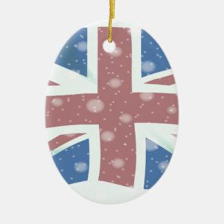 Union Jack Flag Snowflakes Christmas Ornament