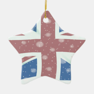 Union Jack Flag Snowflakes Christmas Ornament
