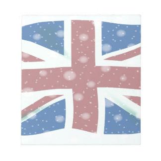 Union Jack Flag Snowflakes Notepad
