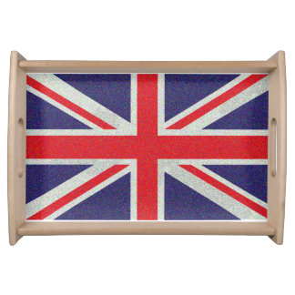 Union Jack Flag Speckled Grungy UK Serving Tray