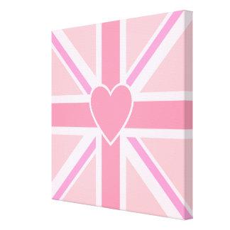 Union Jack Flag Square & Heart Pinks Canvas Print