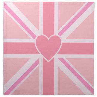 Union Jack/Flag Square Pinks & Heart Napkin