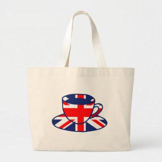Union Jack flag teacup art Jumbo Tote Bag