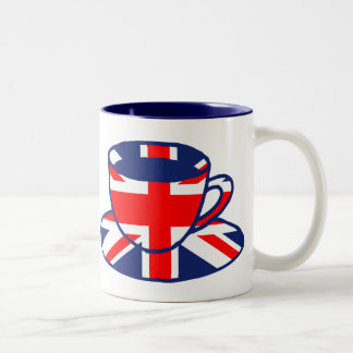Union Jack flag teacup art Two-Tone Coffee Mug