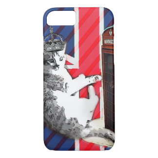 union jack flag telephone booth crown kitty cat iPhone 8/7 case