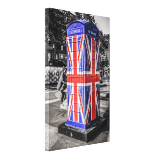 Union Jack Flag Telephone boxes in central London Stretched Canvas Print