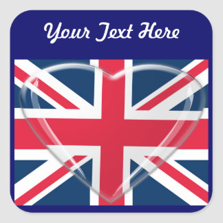 Union Jack Flag with Glass Heart Customisable Art Square Sticker