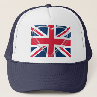 Union Jack Flag with Glass Heart Customisable Art Trucker Hat
