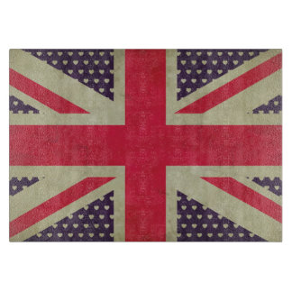 Union Jack Flag with Hearts Glass Cutting Board