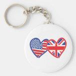 Union Jack Flat USA Flag Basic Round Button Key Ring