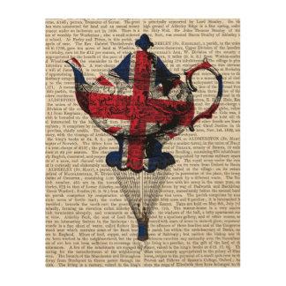 Union Jack Flying Teapot Wood Wall Art