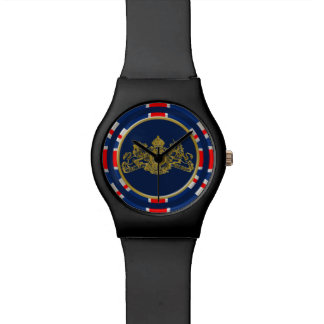 Union Jack & Gold Dieu Mon Droit British Coat Arms Watch