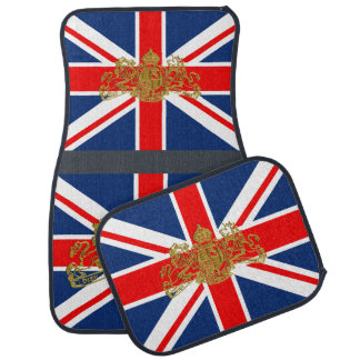 Union Jack Gold Dieu Mon Droit British Coat o Arms Car Mat