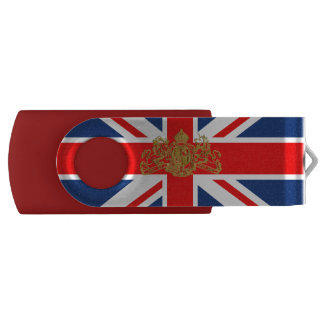 Union Jack Gold Dieu Mon Droit British Coat o Arms Swivel USB 2.0 Flash Drive