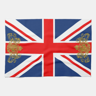 Union Jack Gold Dieu Mon Droit British Coat o Arms Tea Towel