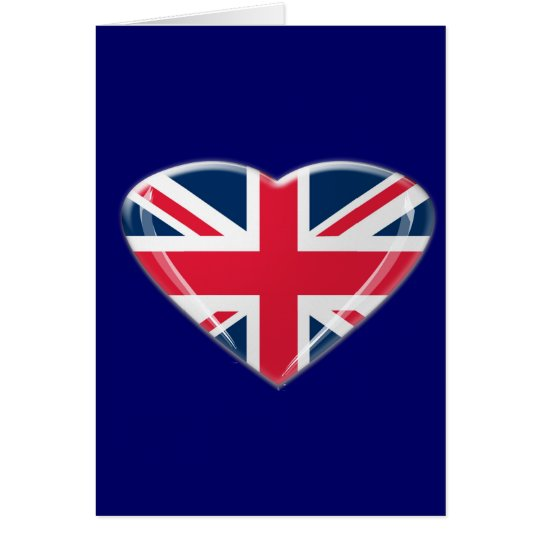Union Jack Heart Design Greeting Card