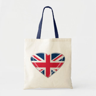 Union Jack Heart Design Tote Bag