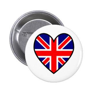Union Jack Heart Flag Button