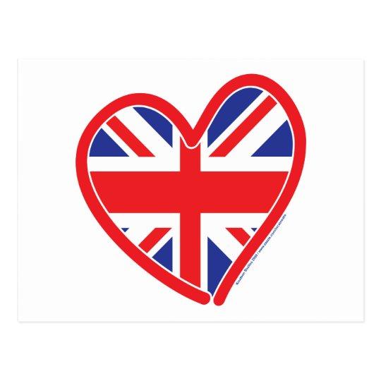 Union Jack Heart Flag Postcard