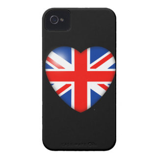 Union Jack Heart on Black iPhone 4 Case-Mate Case
