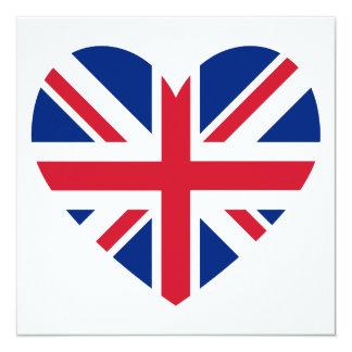 Union Jack Heart Shape 13 Cm X 13 Cm Square Invitation Card