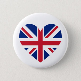 Union Jack Heart Shape 6 Cm Round Badge
