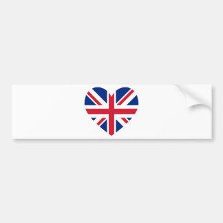 Union Jack Heart Shape Bumper Sticker