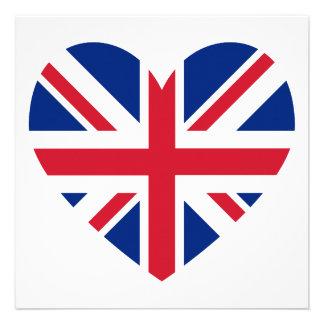 Union Jack Heart Shape Custom Invitation