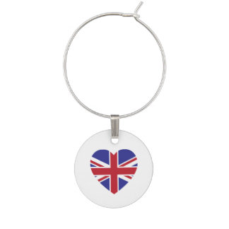 Union Jack Heart Wine Charm