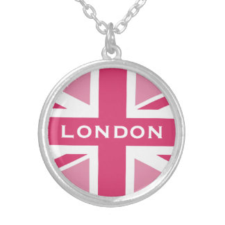 Union Jack in the Pinks Silver Plated Necklace