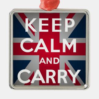 Union Jack Keep Calm And Carry On Christmas Ornament