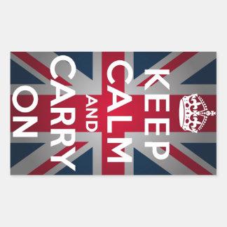 Union Jack Keep Calm And Carry On Rectangular Sticker