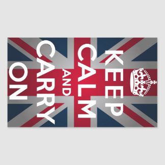 Union Jack Keep Calm And Carry On Rectangular Stickers