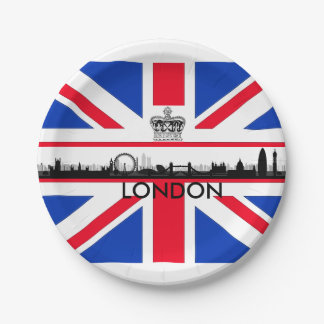 Union Jack London Skyline Paper Plates