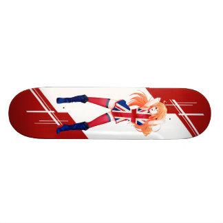 Union Jack Manga girl dressed in Flag - UK - Skate Board Deck