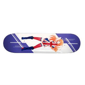 Union Jack Manga girl dressed in Flag - UK - Skate Deck