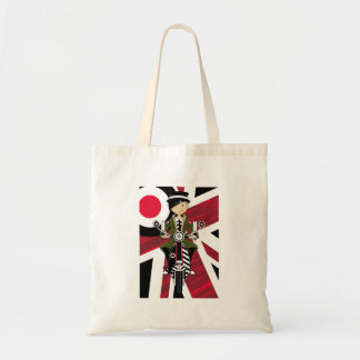 Union Jack Mod Girl on Scooter Tote Bag