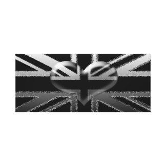 Union Jack Modern Black and Silver Canvas Print